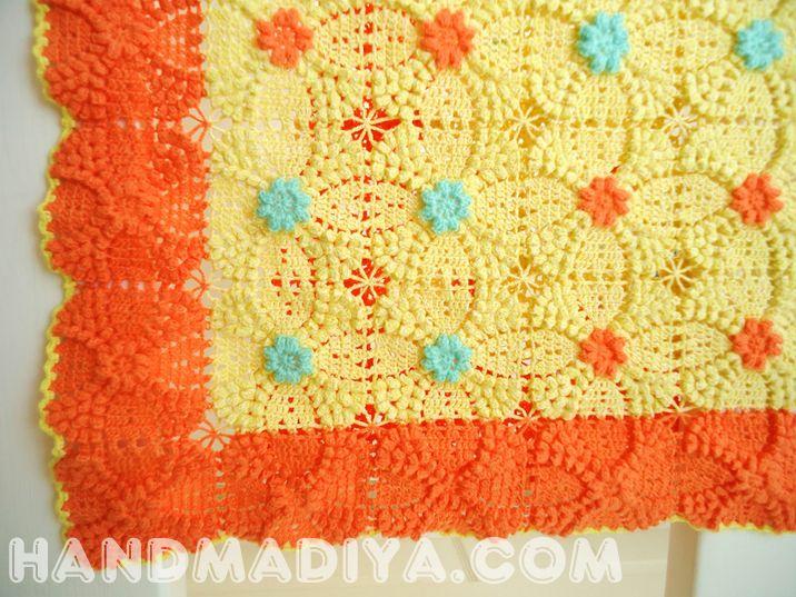 плед с объемными мотивами.  Beautiful plaid - Crochet