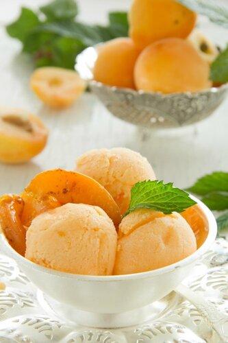 Homemade apricot ice cream.