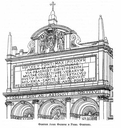 Фонтан Аква Феличе в Риме, фасад