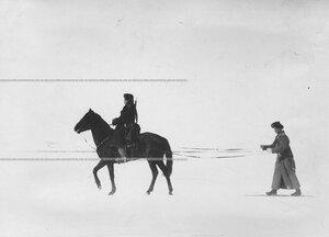 Казаки полка  на учении в 1-ой Петербургской императора Александра III бригаде отдельного корпуса пограничной стражи.