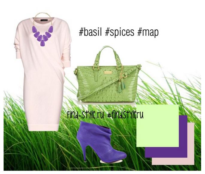 базелик, вкусные цветовые сочетания, как сочетать цвета в одежде, модные тенденции, фото, с чем носить фиолетовый, лавандовый, базеликовый, салатовый
