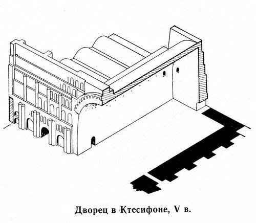 Дворец в Ктесифоне, аксонометрический разрез