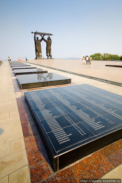 Вдоль аллеи таблички с именами погибших героев (23.05.2013)