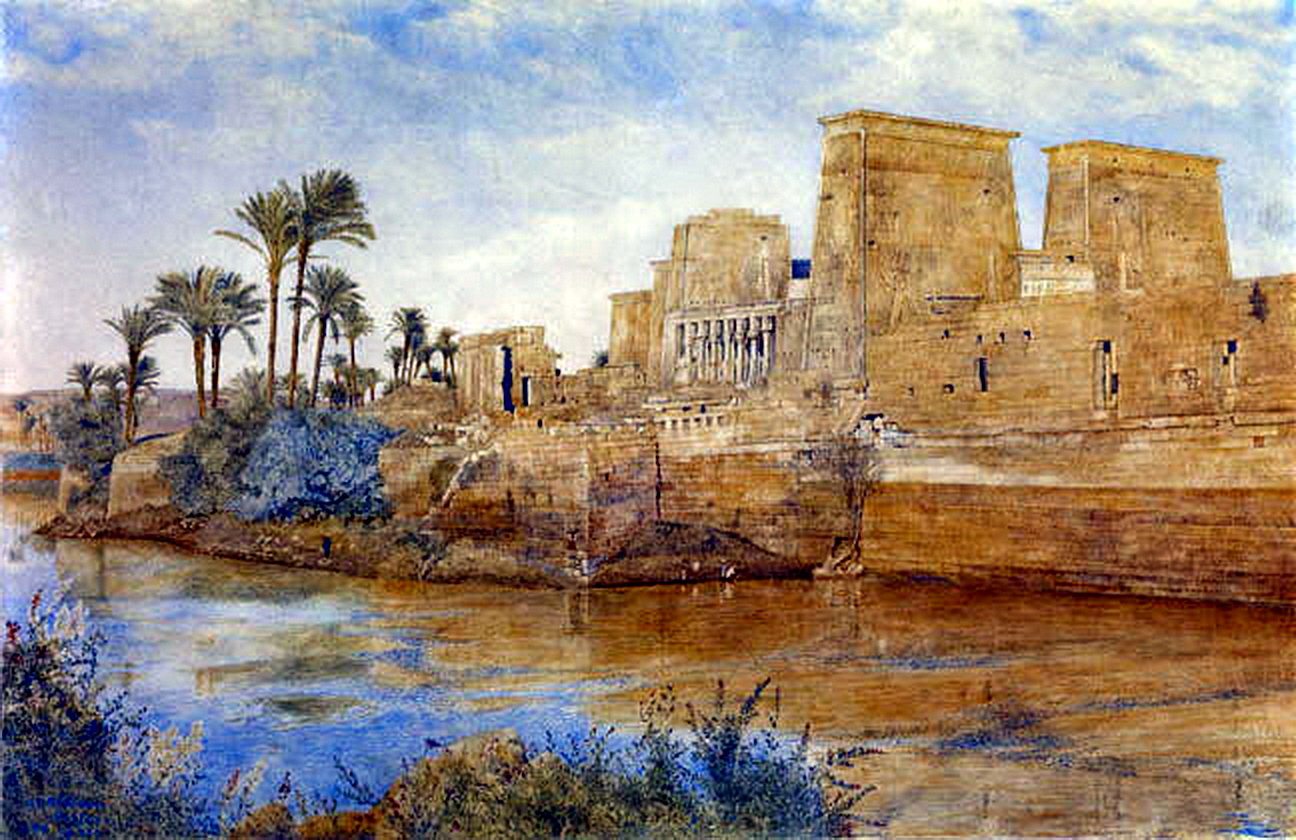 1 Henry Roderick Newman, Philae from the Island of Biggeh, 1894, watercolor on paper, 17-12 x 28-14 inches.jpg