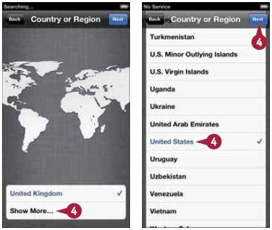 выберите нужную страну или регион в появившемся меню