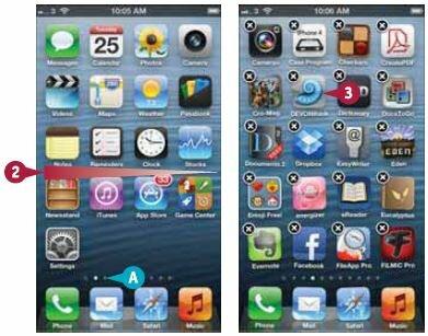Можно нажать точку, отображающую домашний экран, на который вы хотите перейти