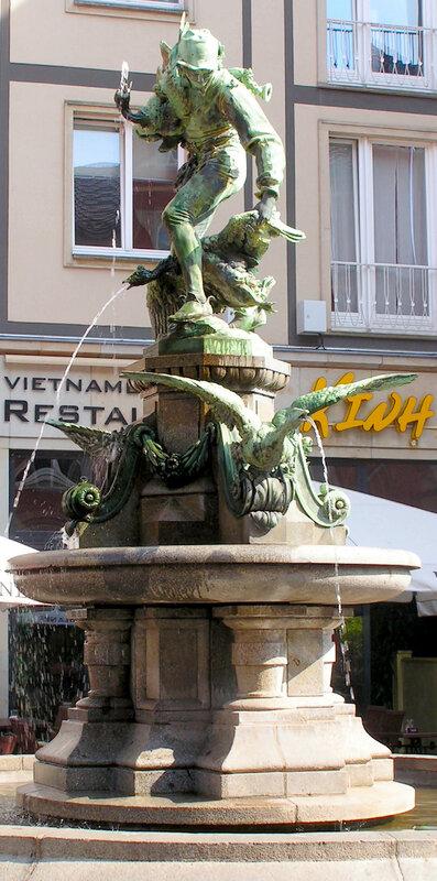 курьезный фонтан-скульптура «Похититель гусей»