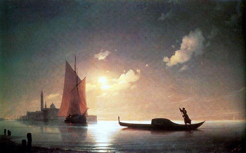 Гондольер на море ночью. Айвазовский Иван Константинович, Шедевры мировой живописи
