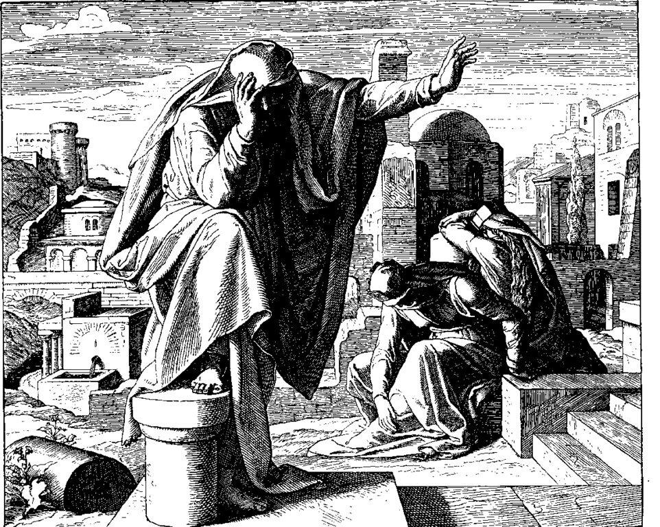 Гравюра из цикла «Библия в картинах», 1860 год. Плач Иеремии, Юлиус Шнорр фон Карольсфельд(1794-1872)