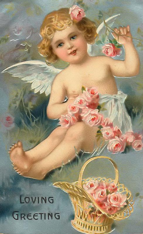 Винтажные открытки ангел, стихи