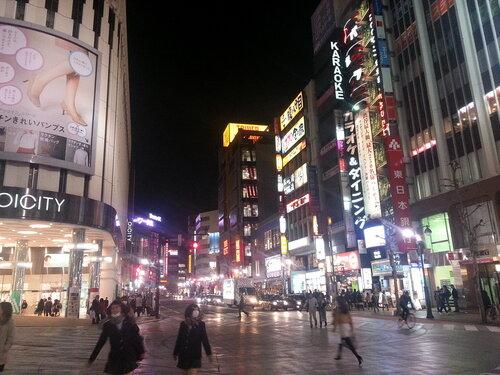 Ночью Токио ярко горит