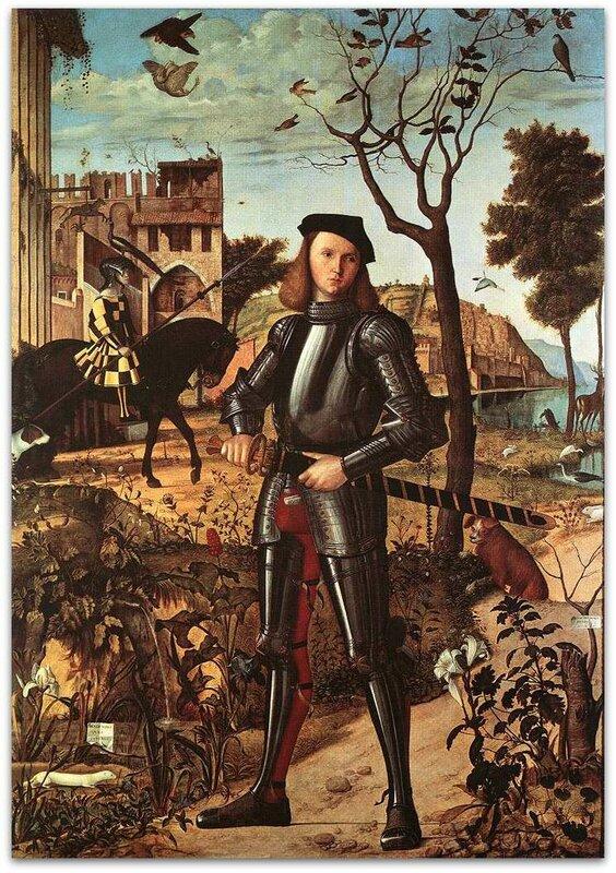 Картины старых мастеров, Витторе Карпаччо, Молодой рыцарь на фоне пейзажа.jpg