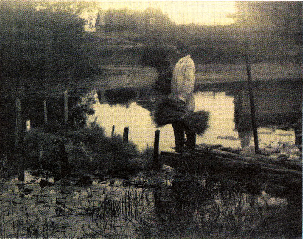 Вымачивание льна (слева - огороженное кольями мочило).Начало ХХ в