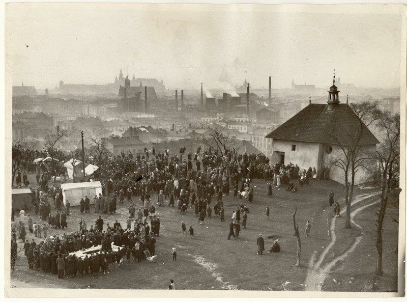 People gathering at the traditional rękawka festival to celebrate the beginning of spring. Kraków, Poland, 1938