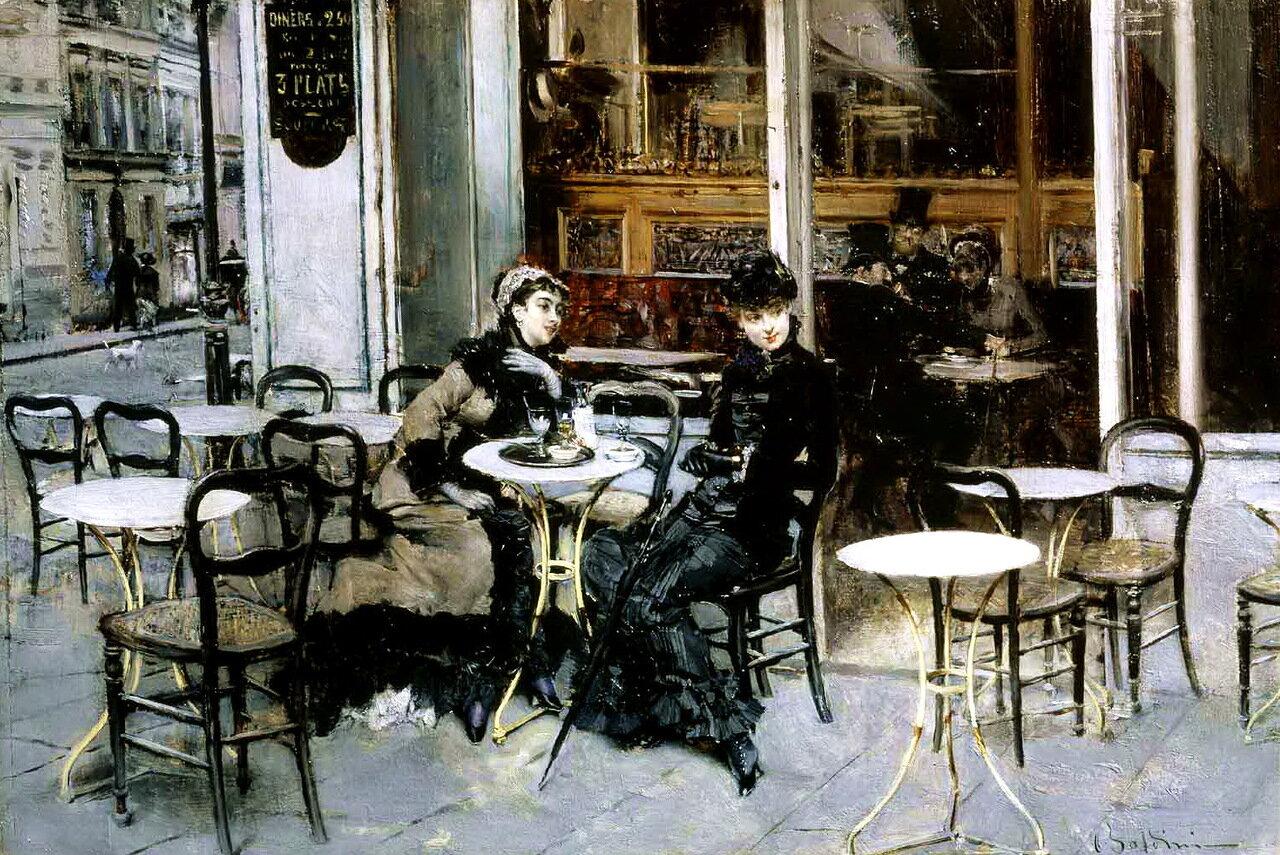 Giovanni Boldini (1842-1931) - Conversation at the Cafe