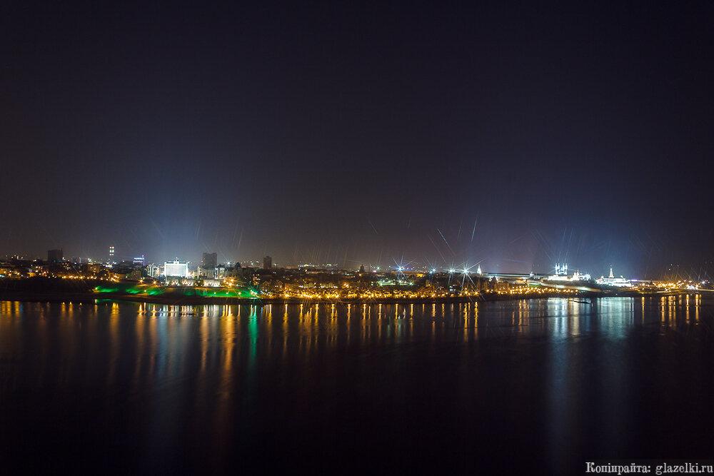 Акватория Казанки ночью.