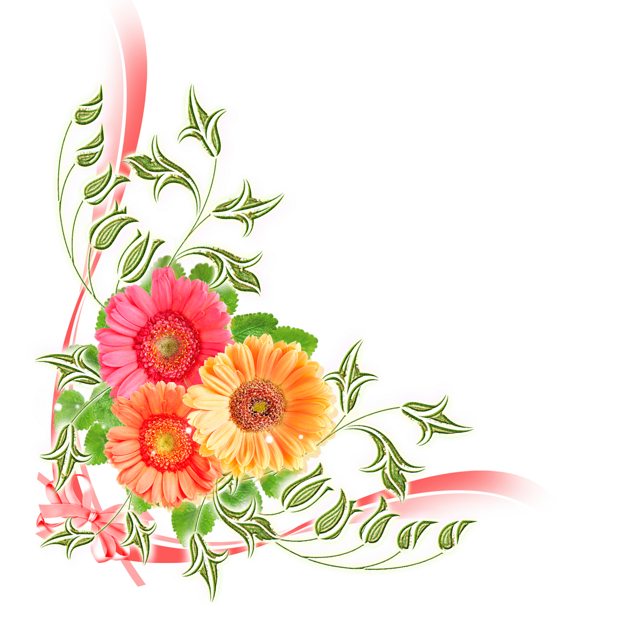 Цветы для оформления открыток, картинках