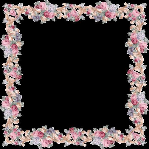 Рамка цветы на прозрачном фоне