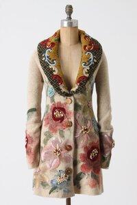 """Пальто """"Букет цветов"""": спицы+вышивка+роспись"""
