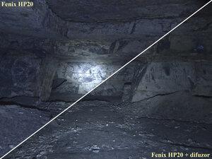Сравнение света фонарей Fenix HP20 и Fenix HP20 + difuzor в турбо режиме