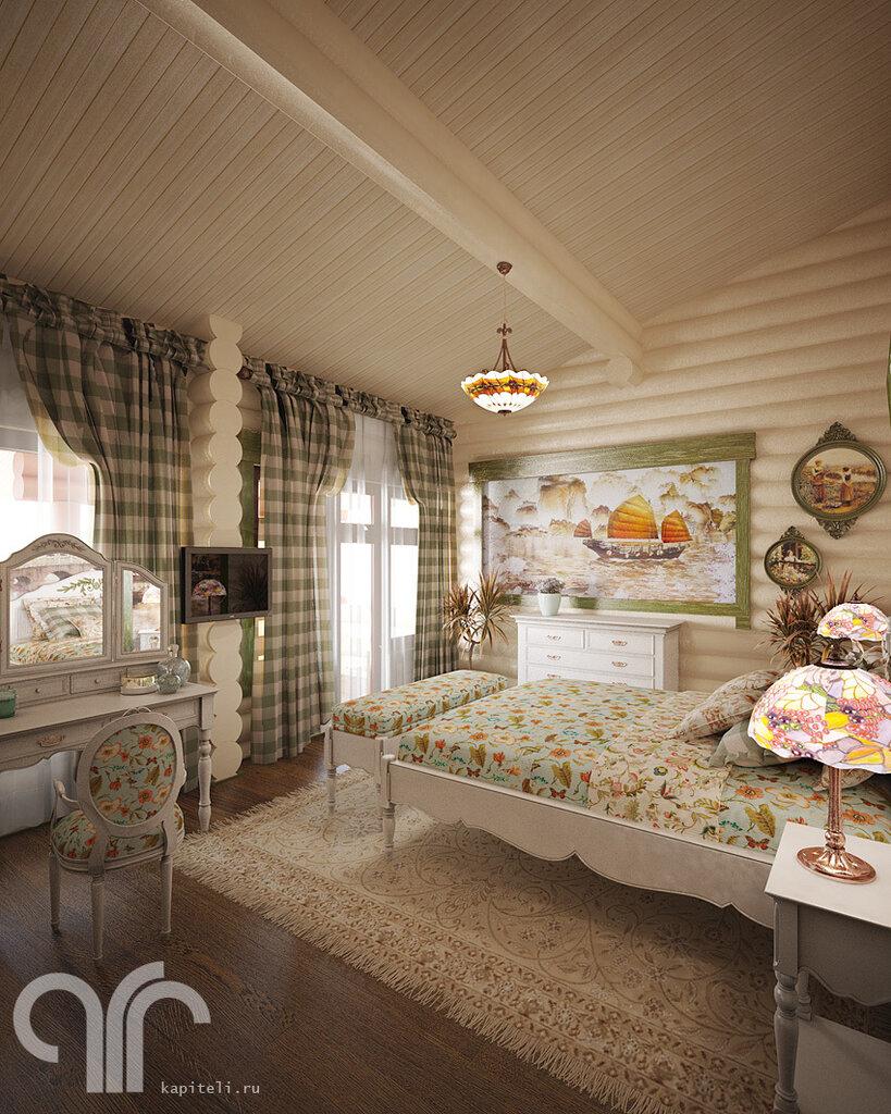 Интерьер прованс в бревенчатом доме