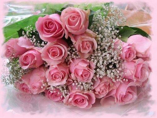 Большой и прекрасный букет розовых роз открытка поздравление картинка