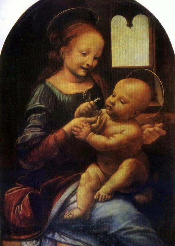 Шедевры Эрмитажа, живопись, Леонардо Да Винчи, Мадонна с цветком(Мадонна Бенуа)