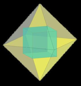 куб в октаэдре, стереометрия