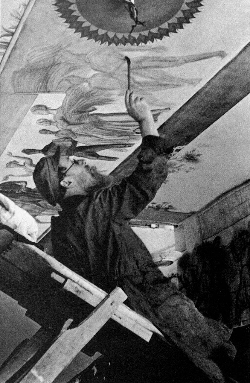 1935. Художник В Фаворский за росписью