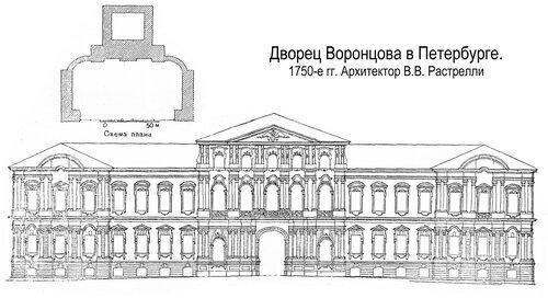 Дворец Воронцова в Петербурге, чертежи