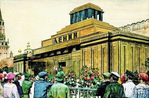 Исаак Бродский. Мавзолей Ленина. (1924)