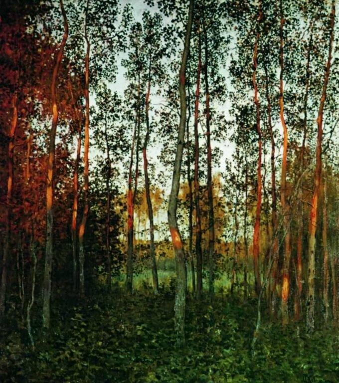 Исаак Левитан. Последние лучи солнца. Осиновый лес.