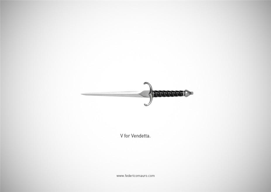 Знаменитые клинки, ножи и тесаки культовых персонажей / Famous Blades by Federico Mauro - V for Vendetta