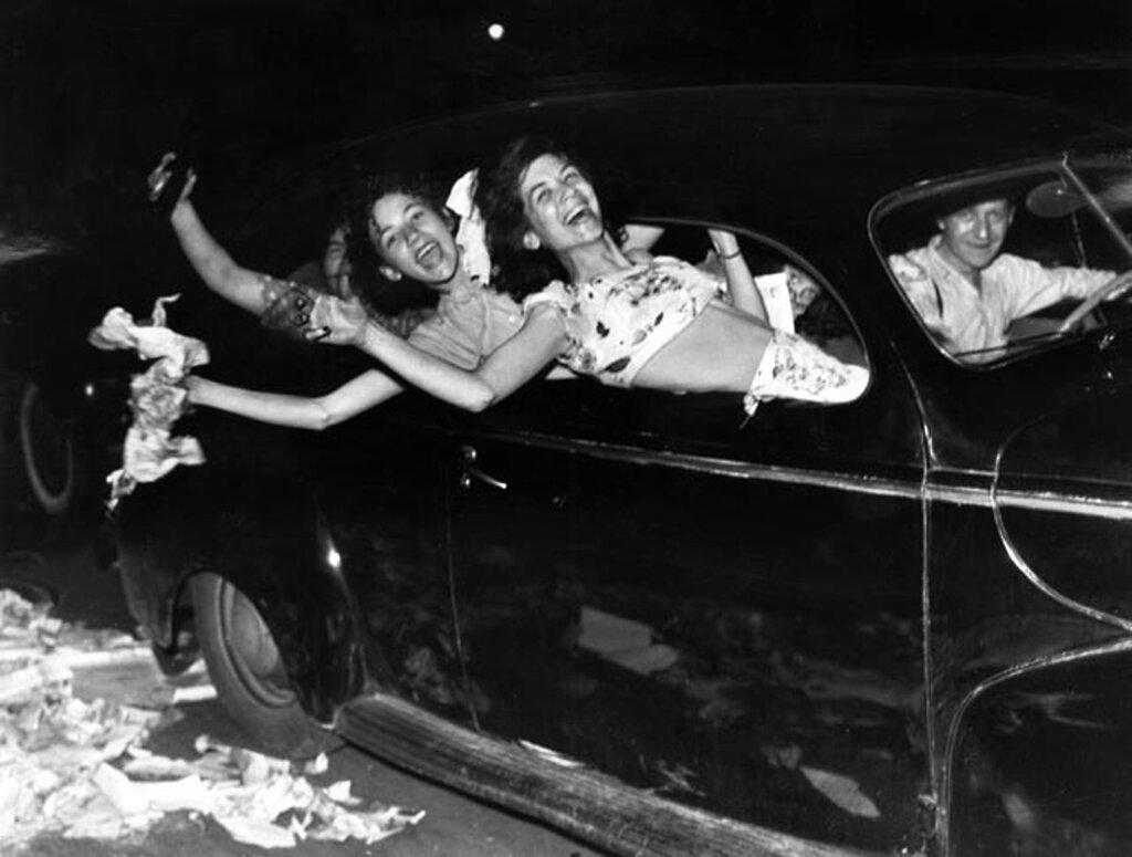 Cruising teenagers in Detroit celebrating the end of World War II, 1945.jpg