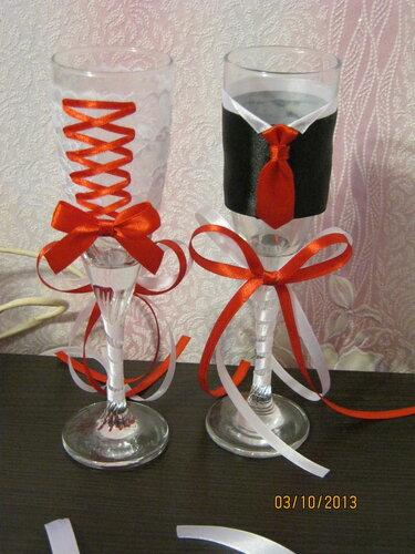 Канзаши свадебные бокалы своими руками