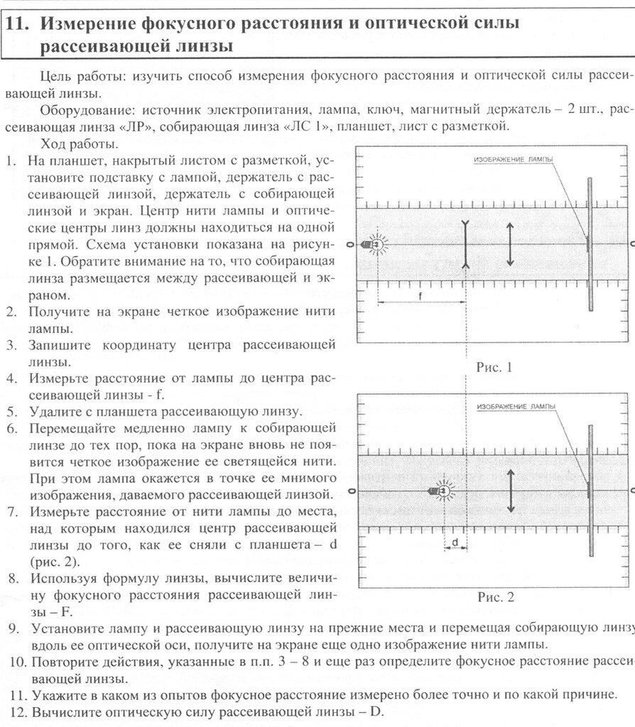 Измерение фокусного расстояния и оптической силы рассеивающей линзы