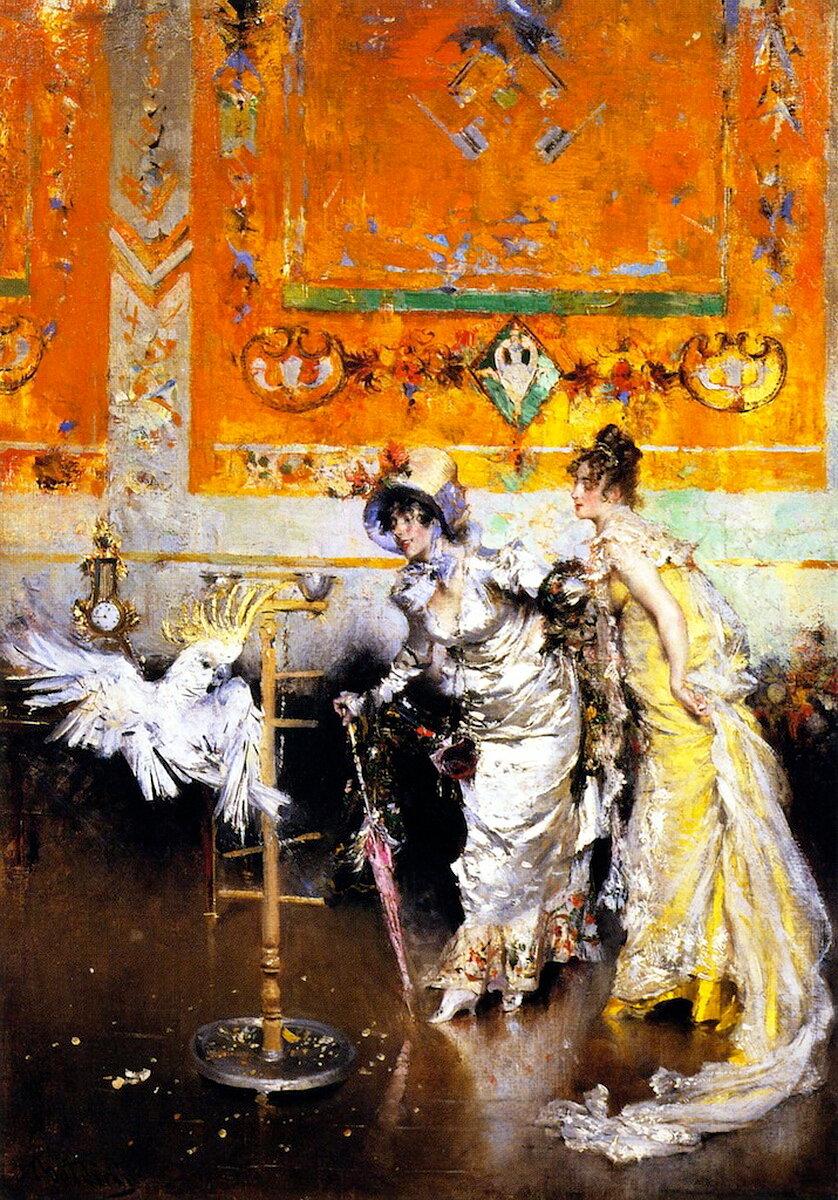 Giovanni Boldini (1842-1931) - Teasing the Parrot