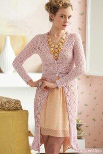 Розовый шазюбль из осеннего VOGUE knitting спицами