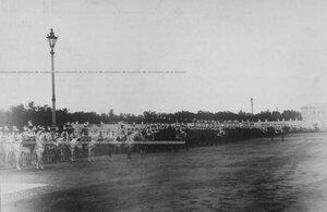 Торжественное построение полка на параде в день 200-летнего юбилея.