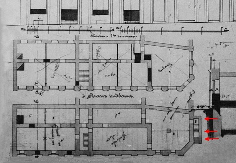 Дом Ярошенко. Вход в подвал на плане 1904 года