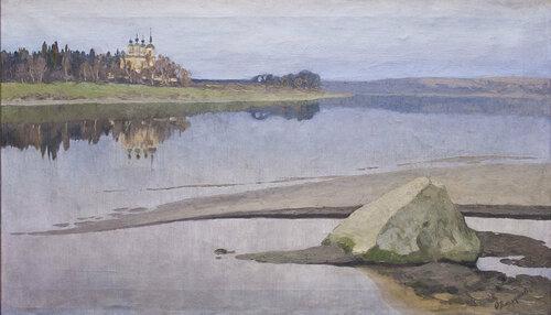 Вахрушев Феодосий Михайлович (23.03.1870 — 08.12.1931) Пейзаж с рекой и церковью