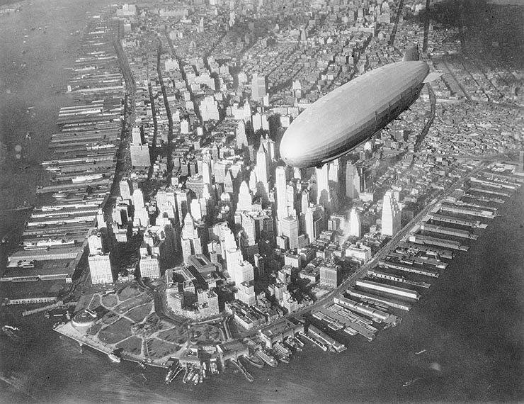 USS Akron flying over lower Manhattan, c. 1932.