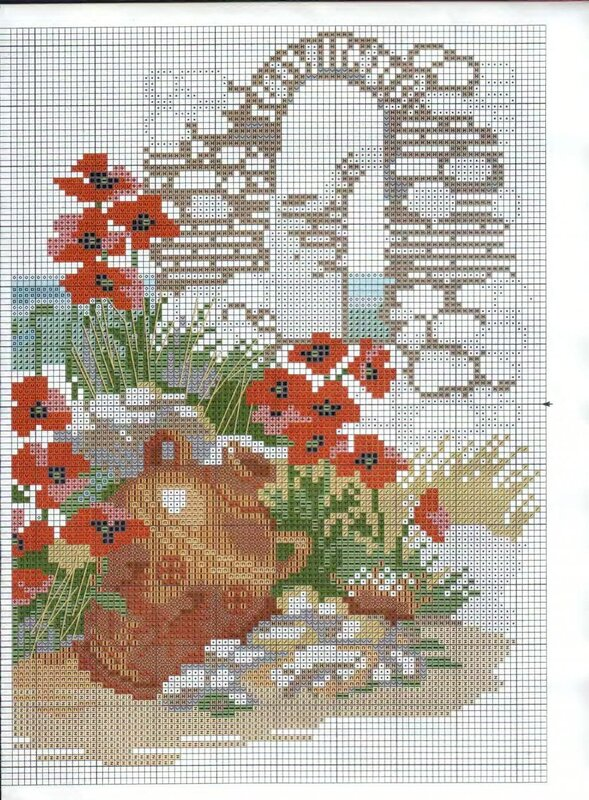 море, вазы, цветы - схема 2