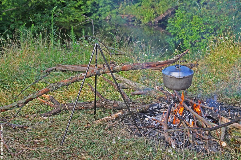 река тускарь, отдых в палатках, еда на костре