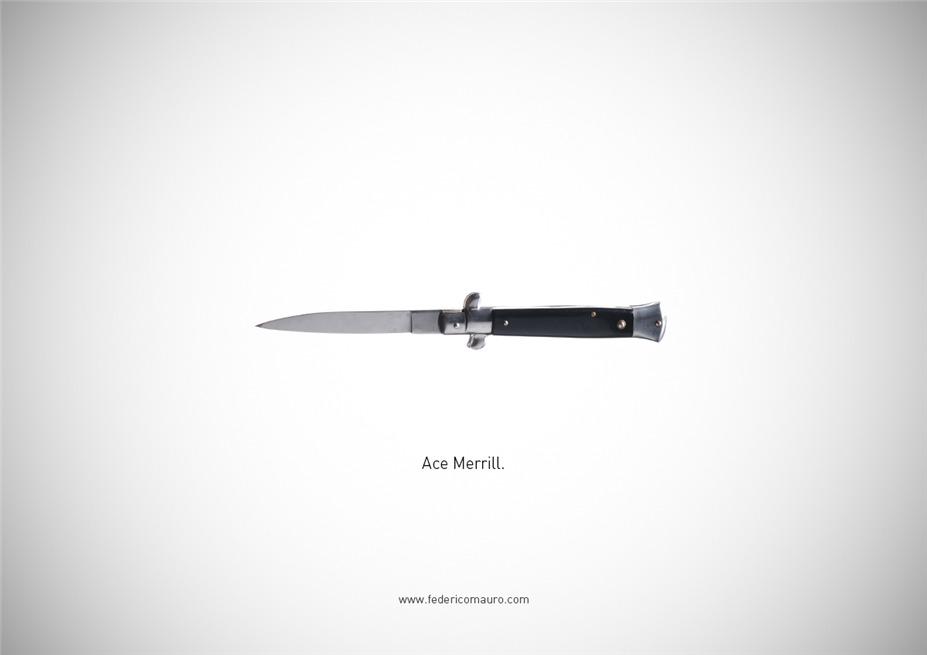 Знаменитые клинки, ножи и тесаки культовых персонажей / Famous Blades by Federico Mauro - Ace Merrill