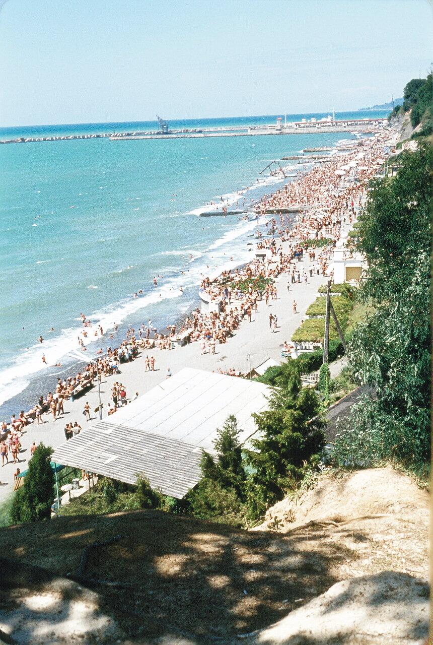 Панорама пляжа в Сочи