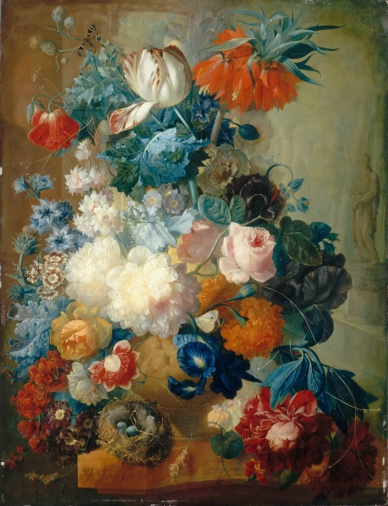 Ос, Ян ван (1744 Миддельхарнис - 1808 Гаага) -- Цветы в вазе и птичье гнездо