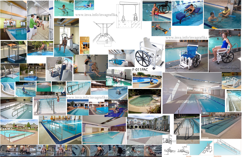 Потолочные подъемные рельсовые системы, потолочные подъемники  для бассейна. Пандусы и пологие спуски в бассейны. Плавающие коляски для заезда и купания в бассейнах
