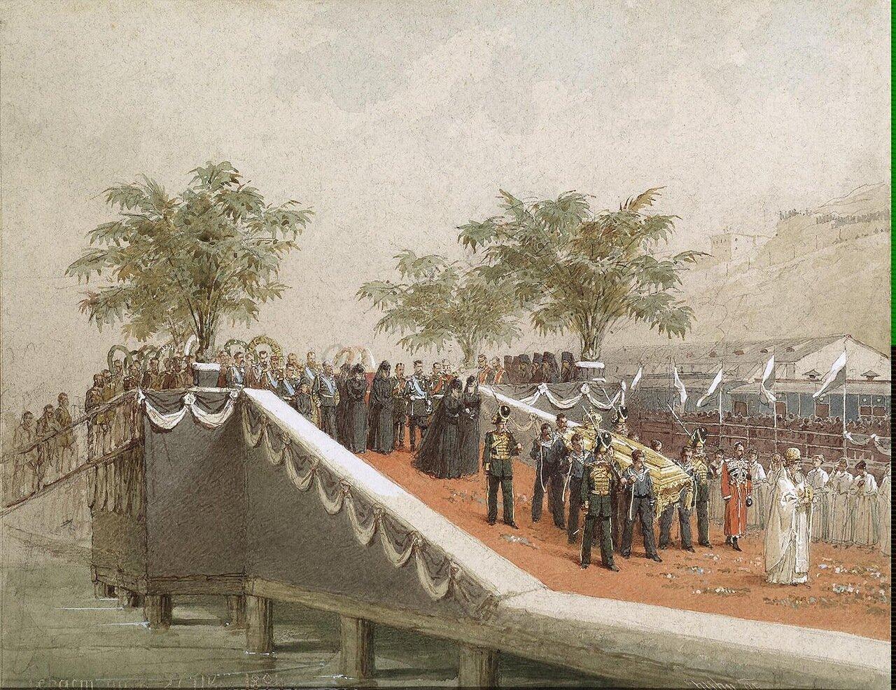 Процессия с гробом Александра III  в Севастополе