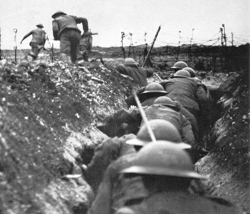 British troops head over the top for a skirmish with their German counterparts, Second Battle of Ypres, 1915.